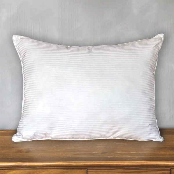 Cotton Stripe Bed Pillow with 300 Thread Count Cotton Shell