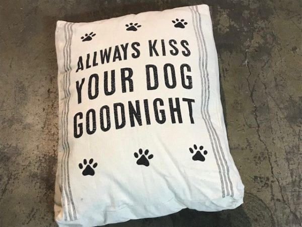 """Always Kiss Your Dog"" Burlap Pet Bed"