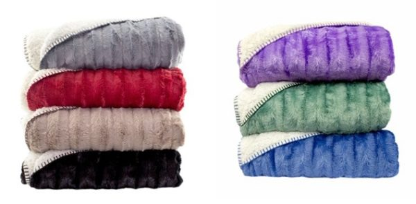 SARA OVERSIZED THROW – SOLID WITH SHERPA