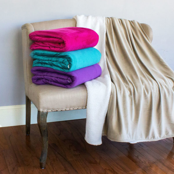 Deluxe Plush Throws with Sherpa Back